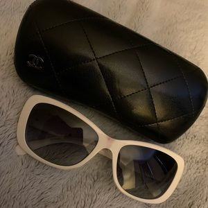 Chanel white sunglasses with flowers